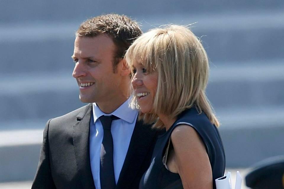 Emmanuel Macron et Brigitte Macron lors du sommet de l'OTAN à Bruxelles, en mai 2017