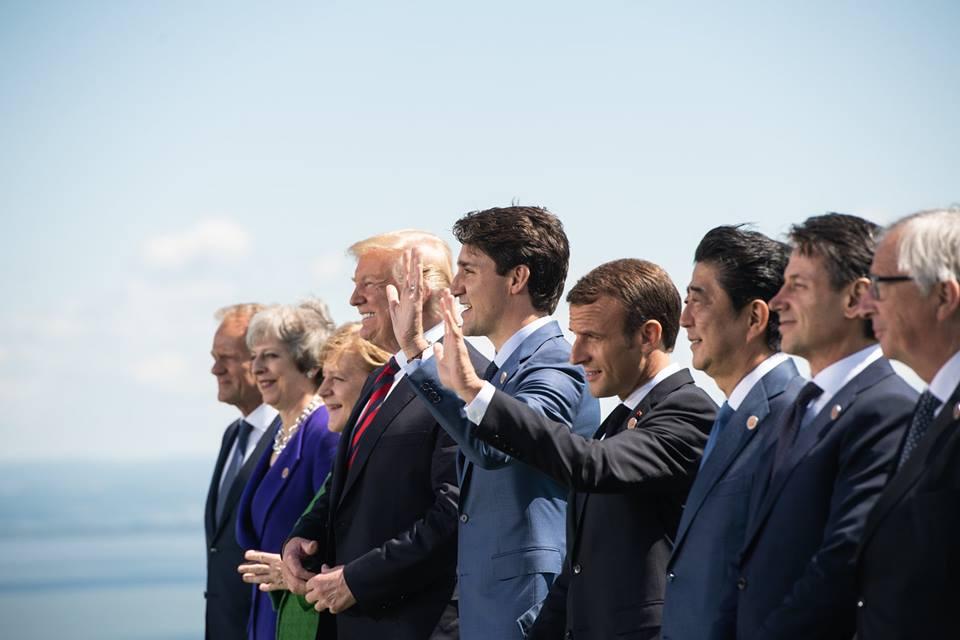 Les présidents lors du G7 au Canada, en 2019