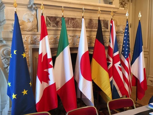 Drapeaux des sept pays composant le G7 à savoir le Canada, l'Italie, le Japon, l'Allemagne, le Royaume Uni, les Etats Unis