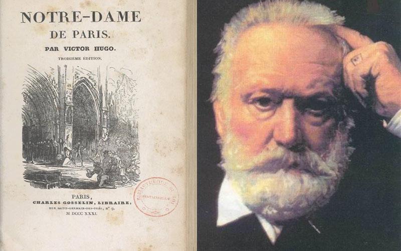 Photos de Victor Hugo et la couverture de son roman Notre Dame de Paris posées côte à côte