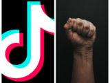 Photomontage du logo de TikTok (gauche) et un poing levé (droite)